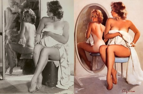 Janet Rae poses for a painting by Gil Elvgren.